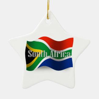 South Africa Waving Flag Ceramic Ornament
