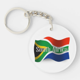 South Africa Waving Flag Double-Sided Round Acrylic Keychain
