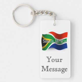South Africa Waving Flag Double-Sided Rectangular Acrylic Keychain