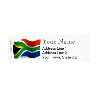South Africa Waving Flag Label