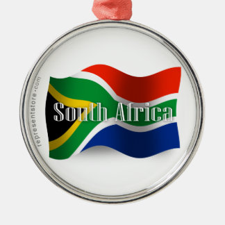 South Africa Waving Flag Metal Ornament