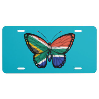 South African Butterfly Flag License Plate