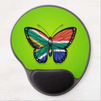 South African Butterfly Flag on Green Gel Mouse Pads