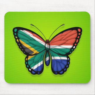 South African Butterfly Flag on Green Mouse Pad