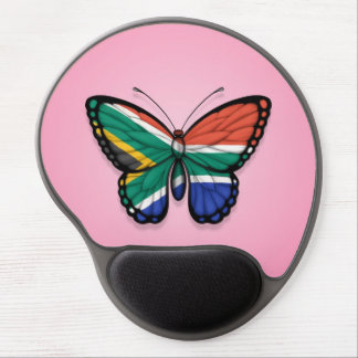 South African Butterfly Flag on Pink Gel Mouse Pads