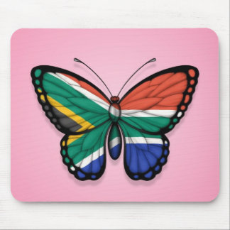 South African Butterfly Flag on Pink Mouse Pad