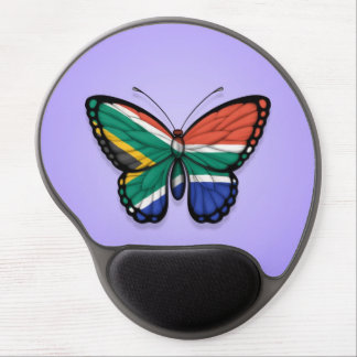 South African Butterfly Flag on Purple Gel Mouse Mats