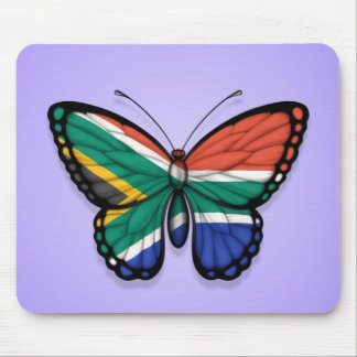 South African Butterfly Flag on Purple Mouse Pads