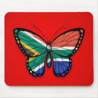 South African Butterfly Flag on Red Mouse Pad
