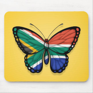 South African Butterfly Flag on Yellow Mouse Pads