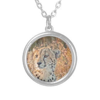 South African Cheetah searches for food Round Pendant Necklace