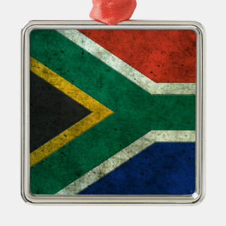 South African Flag Aged Steel Effect Square Metal Christmas Ornament
