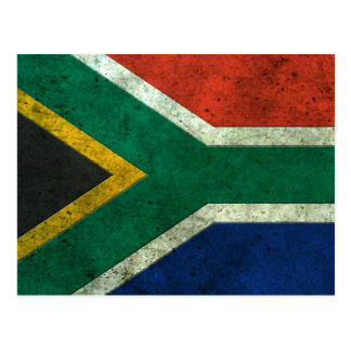 South African Flag Aged Steel Effect Postcard