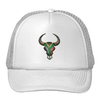 South African Flag Bull Skull Hats