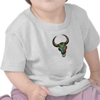 South African Flag Bull Skull Tee Shirt