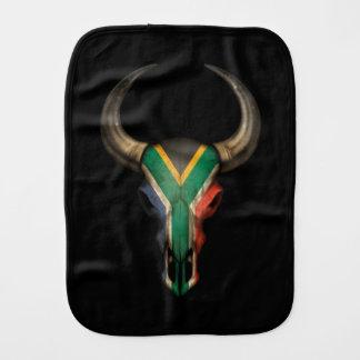 South African Flag Bull Skull Baby Burp Cloths