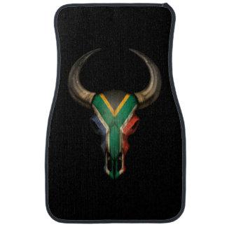 South African Flag Bull Skull Floor Mat