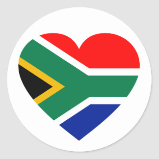 South African Flag Heart Classic Round Sticker