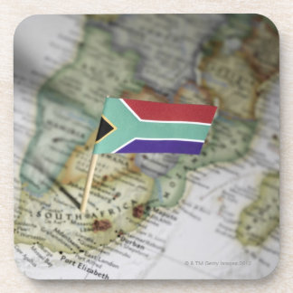 South African flag in map Beverage Coaster