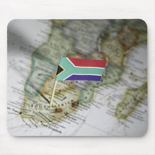 South African flag in map Mouse Pad