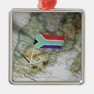 South African flag in map Christmas Tree Ornaments