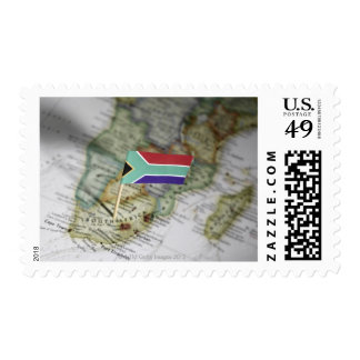 South African flag in map Postage