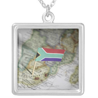 South African flag in map Silver Plated Necklace