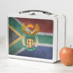 """South African flag Metal Lunch Box<br><div class=""""desc"""">Flag and Coat of arms of South Africa</div>"""