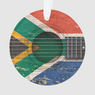 South African Flag on Old Acoustic Guitar