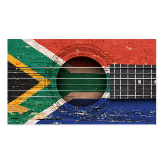 South African Flag on Old Acoustic Guitar Business Card Template