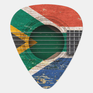 South African Flag on Old Acoustic Guitar Guitar Pick