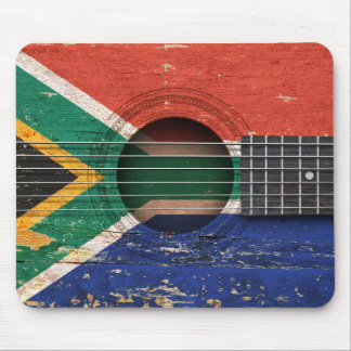 South African Flag on Old Acoustic Guitar Mousepads