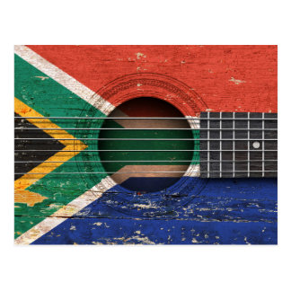South African Flag on Old Acoustic Guitar Postcard