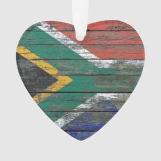 South African Flag on Rough Wood Boards Effect