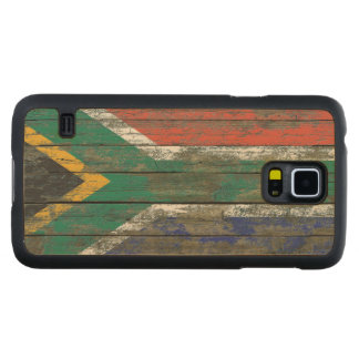 South African Flag on Rough Wood Boards Effect Carved Maple Galaxy S5 Slim Case