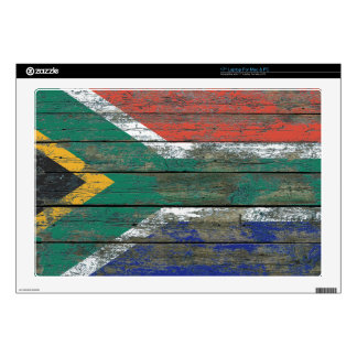 South African Flag on Rough Wood Boards Effect Laptop Skin