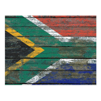 South African Flag on Rough Wood Boards Effect Postcard