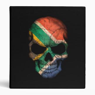 South African Flag Skull on Black 3 Ring Binders