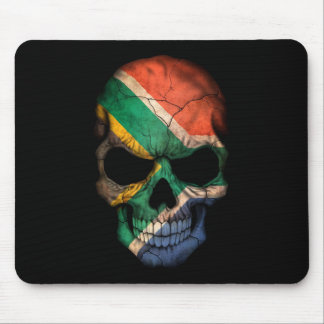 South African Flag Skull on Black Mousepad