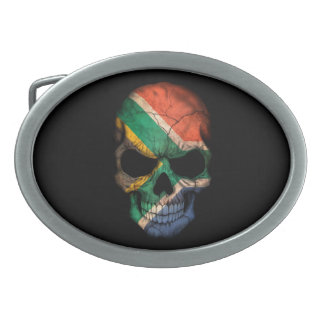 South African Flag Skull on Black Oval Belt Buckle