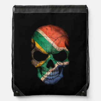 South African Flag Skull on Black Backpack