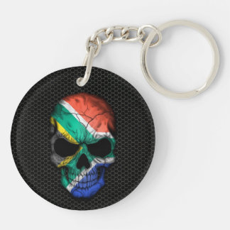South African Flag Skull on Steel Mesh Graphic Acrylic Keychain