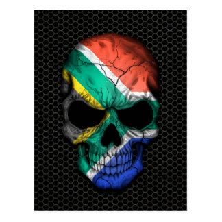 South African Flag Skull on Steel Mesh Graphic Postcard