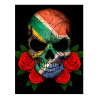 South African Flag Skull with Red Roses Postcard