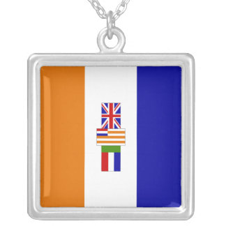 South African Flag Square Pendant Necklace