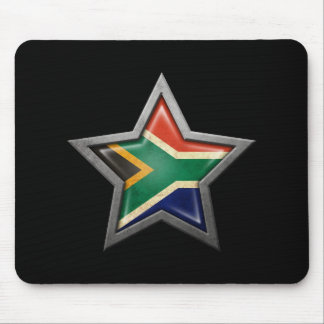 South African Flag Star on Black Mousepads