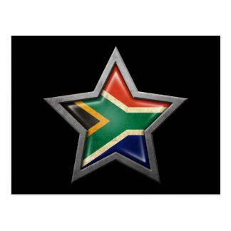 South African Flag Star on Black Postcard