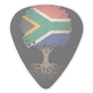 South African Flag Tree of Life Customizable White Delrin Guitar Pick