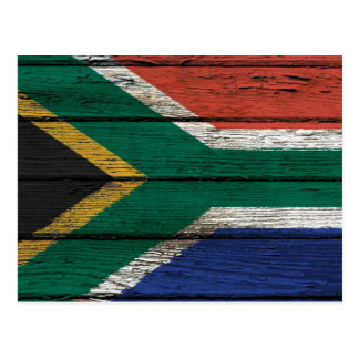 South African Flag with Rough Wood Grain Effect Postcard