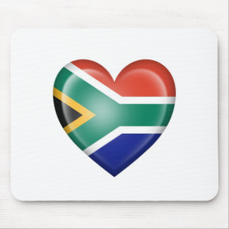 South African Heart Flag on White Mouse Pads